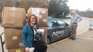 Novex and WestJet delivering blankets